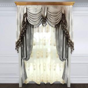 Simple European Style Grey Velvet Curtain Set