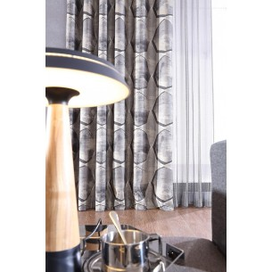 Industrial Style Beige Yarn-dyed Jacquard Curtains