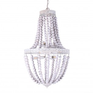 Antique Chandelier with Dumb White Light Body and White Wood Beads
