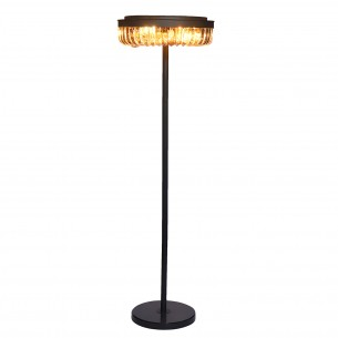 E12 Light Source & K9 Amber Crystal Satin Black Floor Lamp