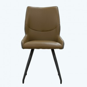 LESSO HOME Dining Chair with Metal Stools, Taupe Leather