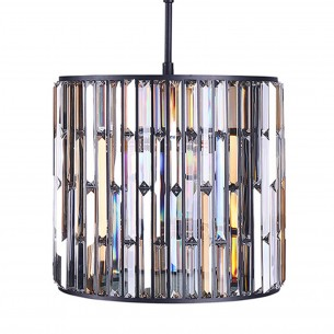 Metal Satin Black & Clear-Amber K9 Crystal Chandelier