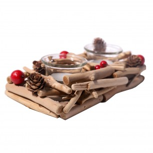 Wooden 2-candle Candleholder for Christmas Ornament