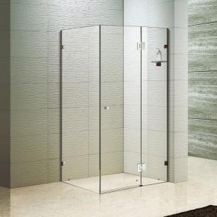 Simple Style  Hinged Shower Doors with L-Shape Fittings
