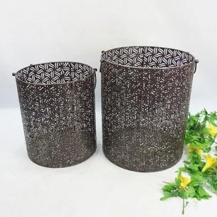 Metal Cylinder Storage Basket Set of 2