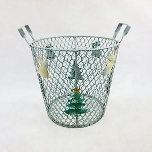 Christmas Trees Pattern Metal Storage Basket