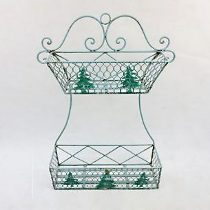 2-Tiers Metal Wall Hanging Storage Basket