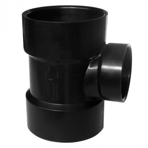 ASTM ABS DWV Reducing Vent Tee Black
