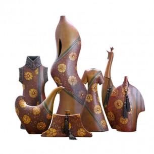 Antique Brown Resin Flower Vase