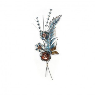 Homeydecor 3D Metal Wall Decor Flower and Leaves ZL65258