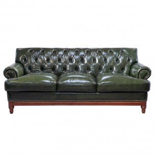 LESSO HOME Button Back 3 Seater Sofa,Dark Green Leather
