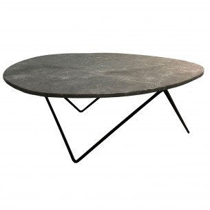 LESSO HOME Egg Shape Marble Top Coffee Table, Metal Base