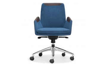 LESSO HOME Executive Chair, Blue Fabric and Brown Leather
