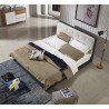 Blue Fabric Platform Bed
