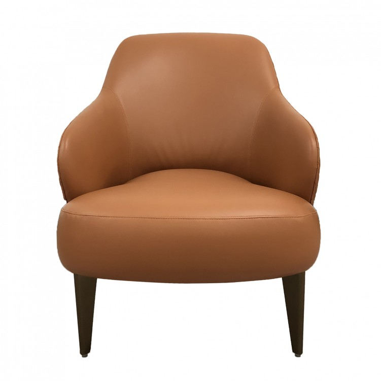 LESSO HOME Orange Leather Wingback Chair ...